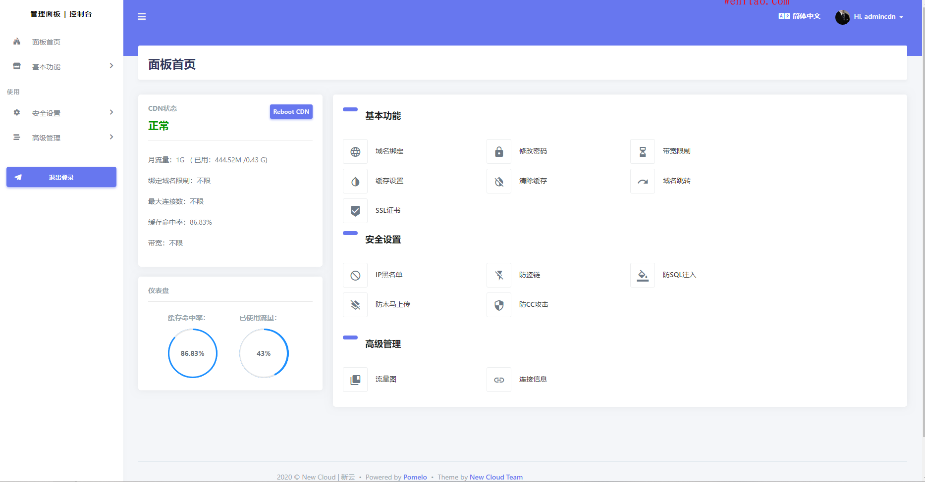 New Cloud - Kangle脚本 自带精品模板+用户自定义防CC 第2张