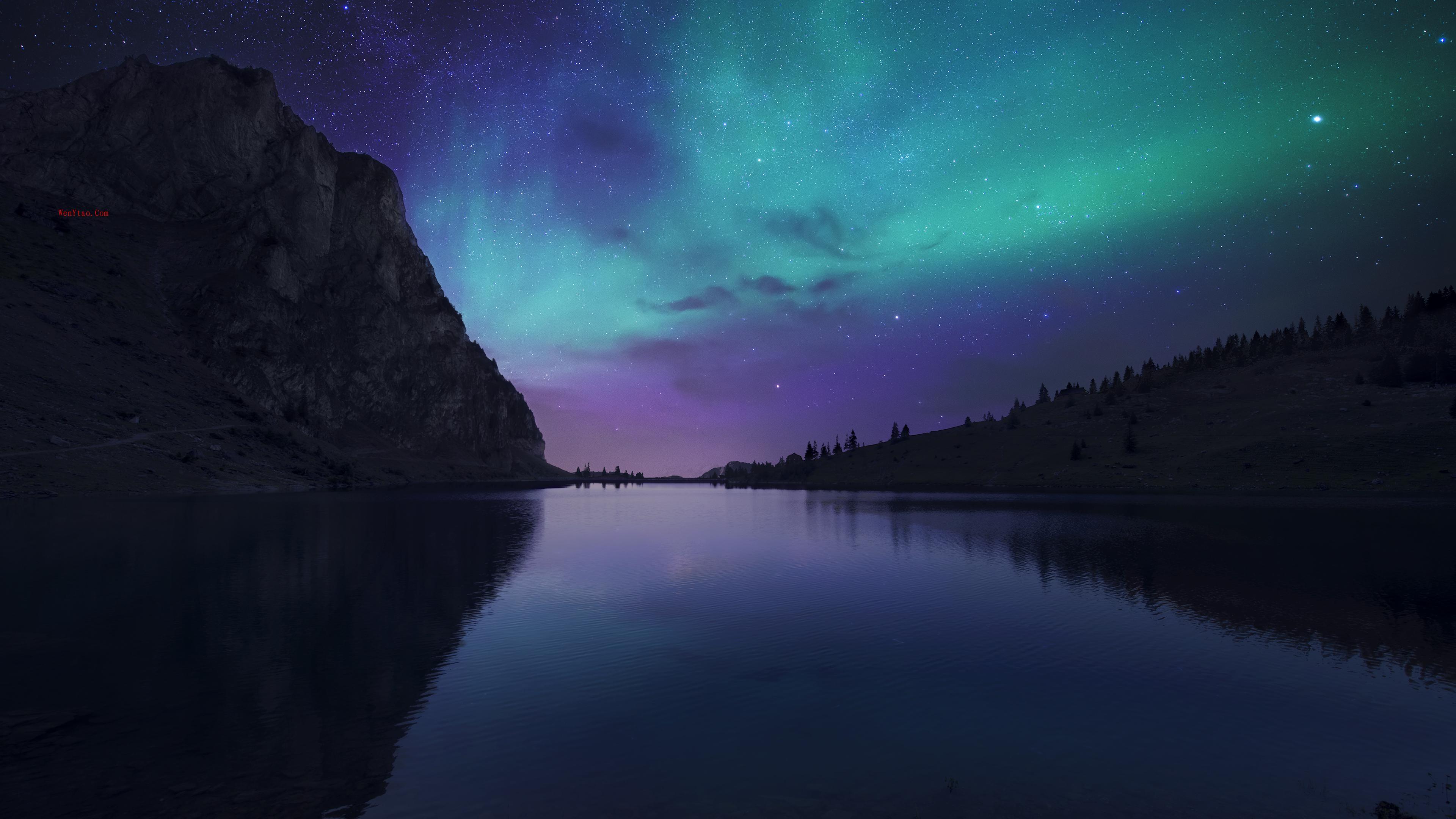 奥罗拉湖的夜晚 瑞士Bannalp湖 冰岛 极光 星空 4K壁纸,奥罗拉湖的夜晚 瑞士Bannalp湖 冰岛 极光 星空 4K壁纸 第1张,第1张