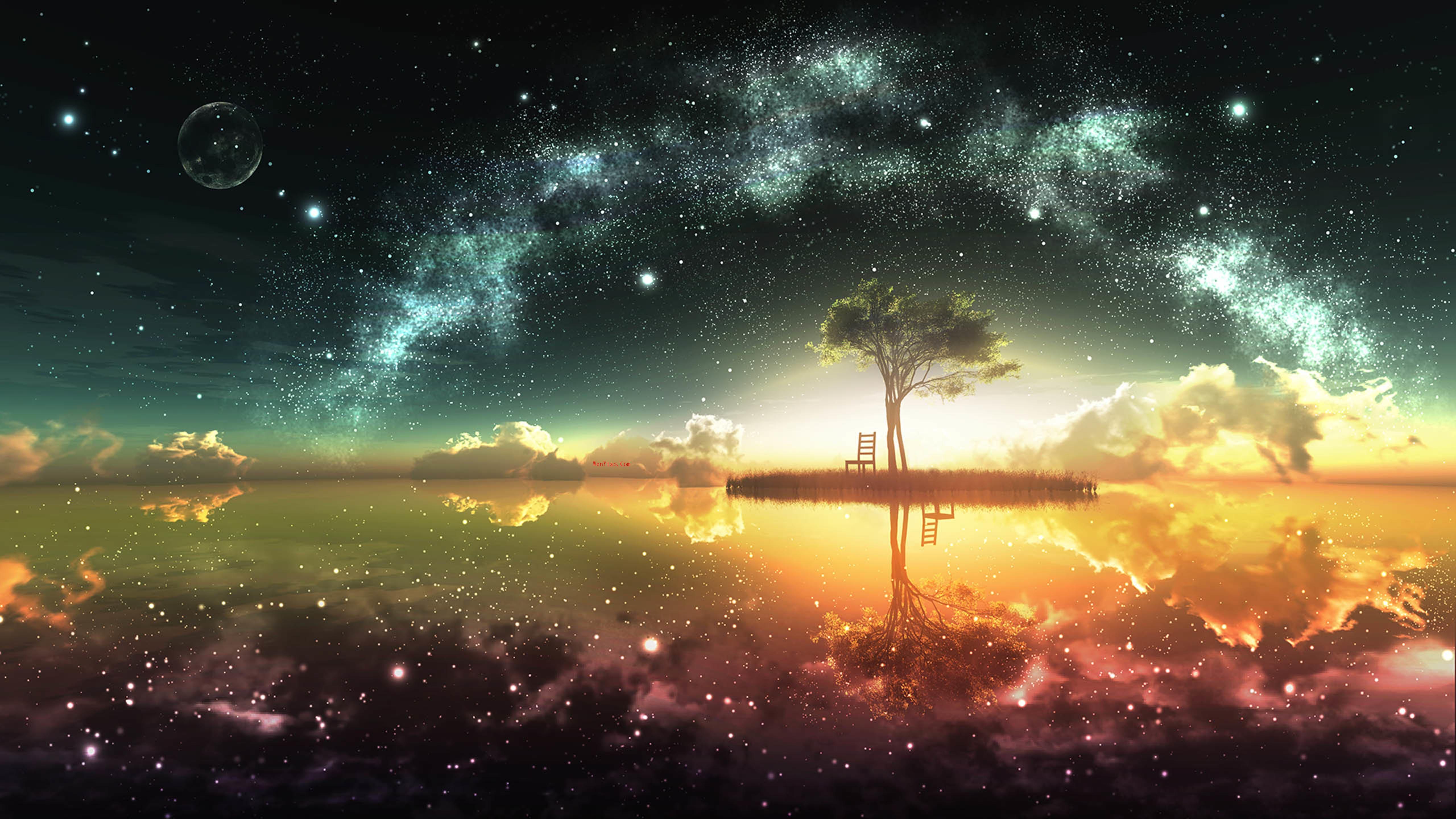 风景奇幻梦境山峰星空繁星云雾夜晚星空星球梦幻5k壁纸 风景 第4张