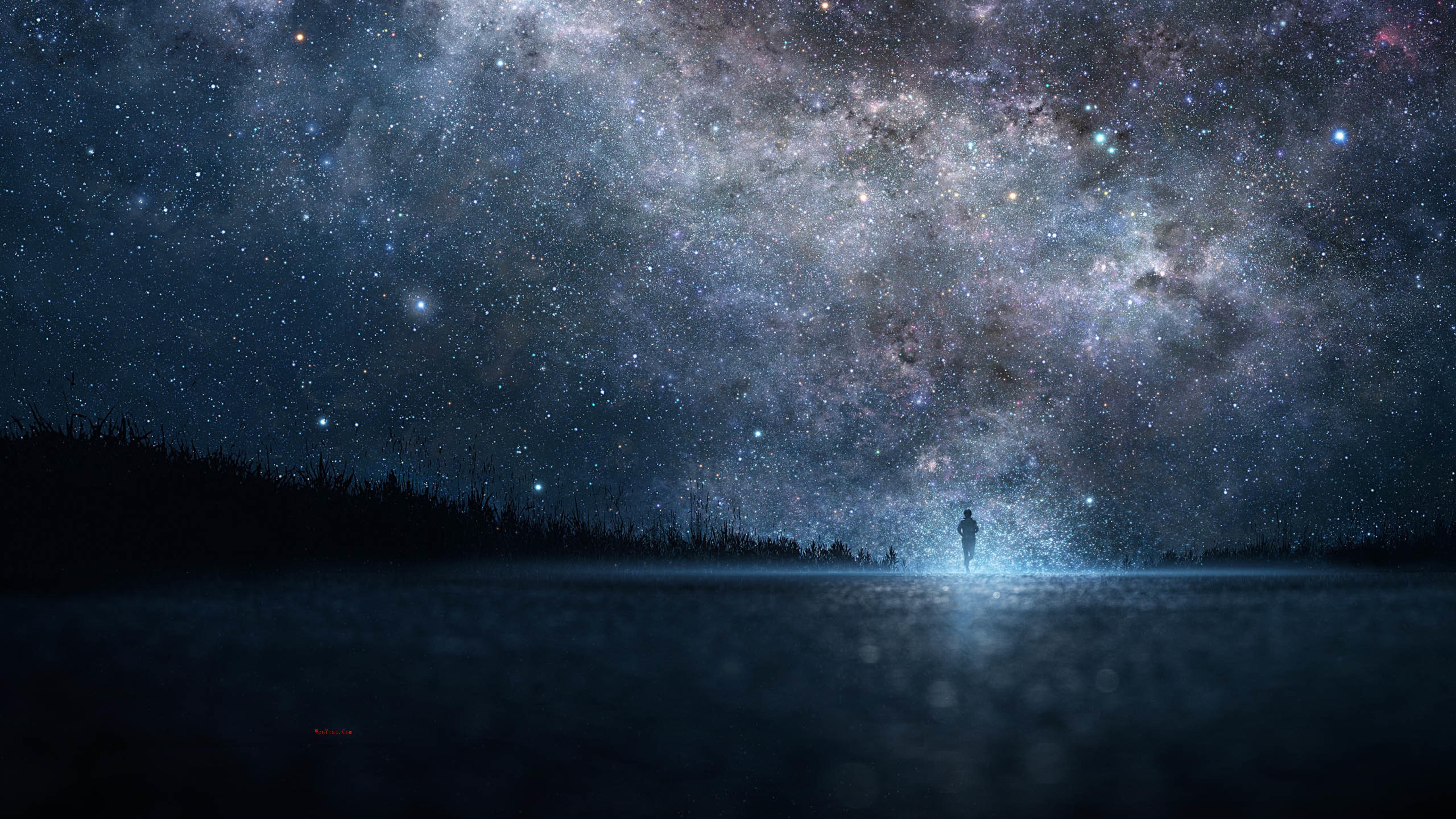 风景奇幻梦境山峰星空繁星云雾夜晚星空星球梦幻5k壁纸 风景 第8张