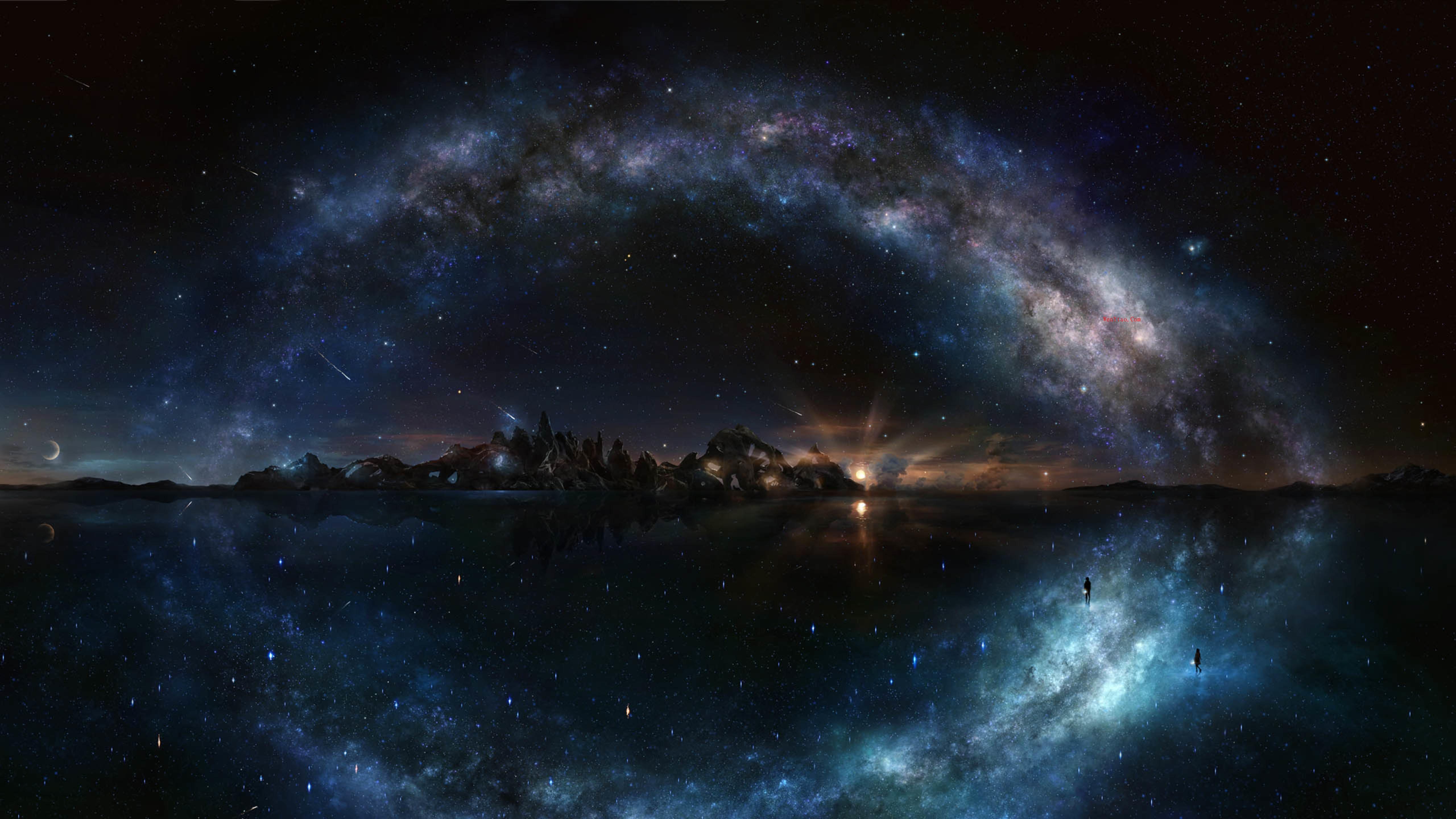 风景奇幻梦境山峰星空繁星云雾夜晚星空星球梦幻5k壁纸 风景 第7张