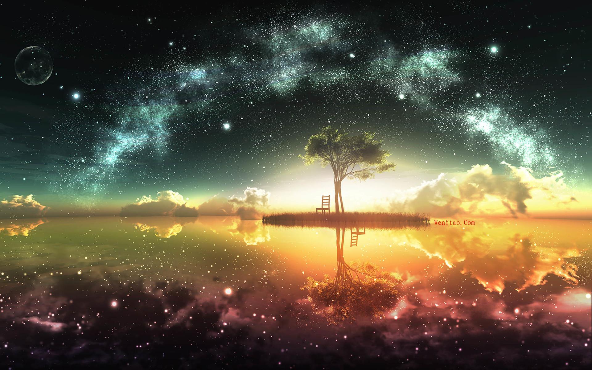 风景奇幻梦境山峰星空繁星云雾夜晚星空星球梦幻5k壁纸 风景 第11张